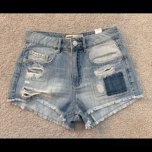 High waisted distressed jean shorts
